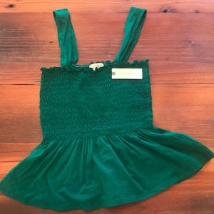 NWT Anthropologie smocked top. XS. Emerald green.
